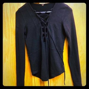 Free People Black Long Sleeve Lace Up Top
